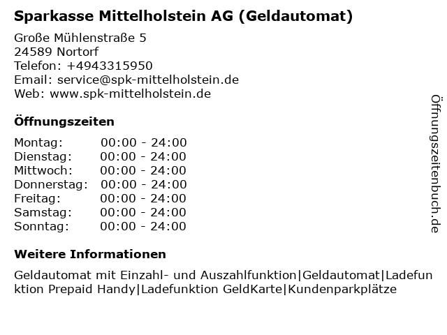 Sparkasse Mittelholstein AG - (Geldautomat Filiale) in Nortorf: Adresse und Öffnungszeiten