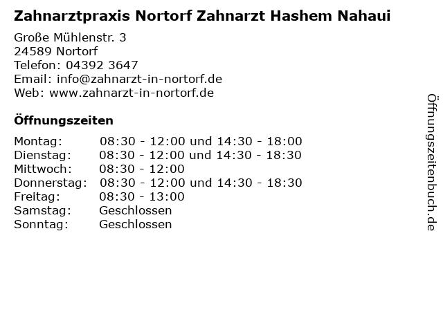 Zahnarztpraxis Nortorf Zahnarzt Hashem Nahaui in Nortorf: Adresse und Öffnungszeiten