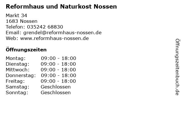 Reformhaus und Naturkost Nossen in Nossen: Adresse und Öffnungszeiten