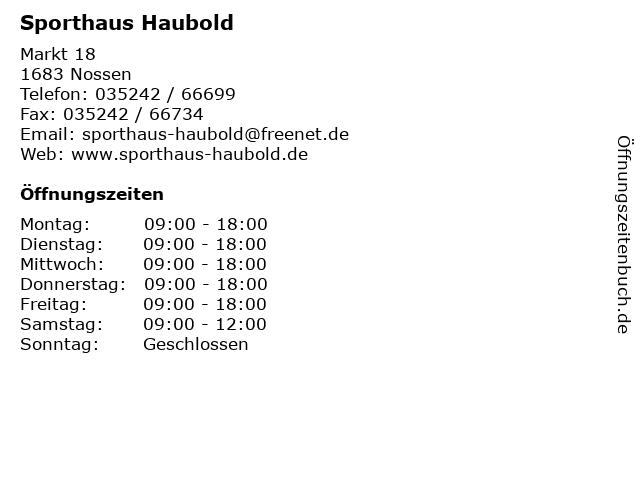 Sporthaus Haubold in Nossen: Adresse und Öffnungszeiten