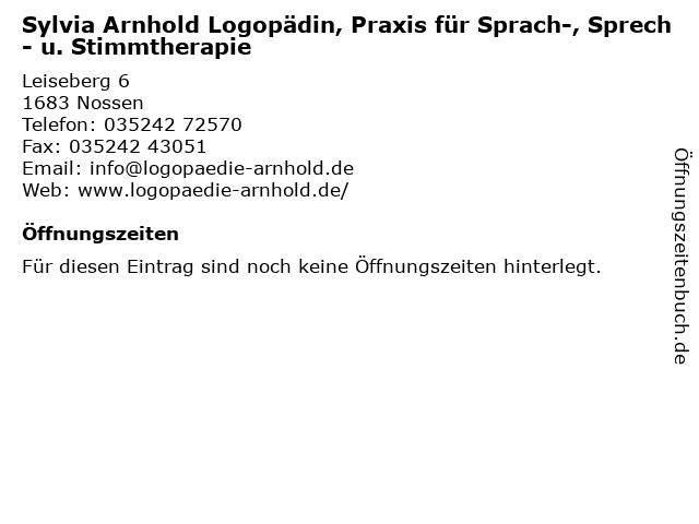 Sylvia Arnhold Logopädin, Praxis für Sprach-, Sprech- u. Stimmtherapie in Nossen: Adresse und Öffnungszeiten