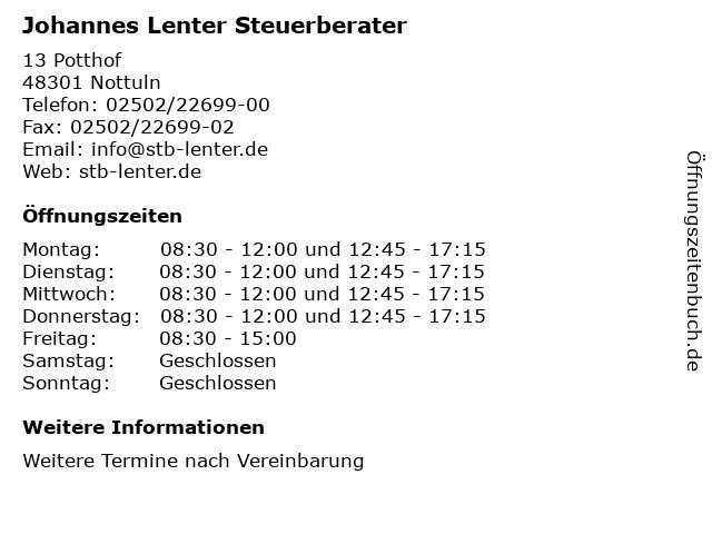 Johannes Lenter Steuerberater in Nottuln: Adresse und Öffnungszeiten