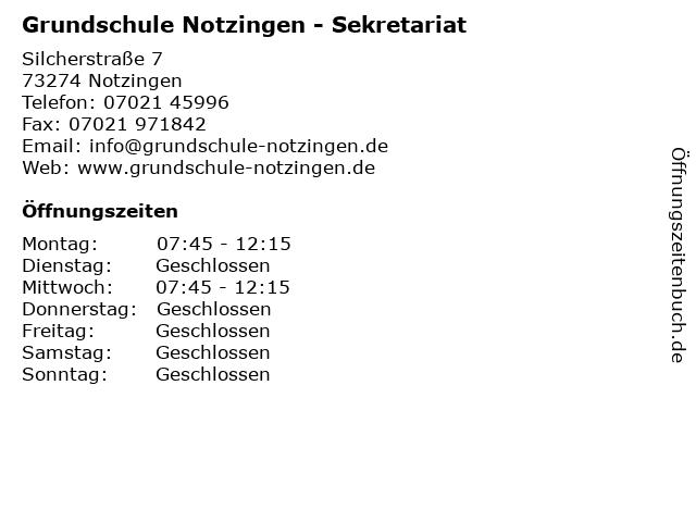 Grundschule Notzingen - Sekretariat in Notzingen: Adresse und Öffnungszeiten
