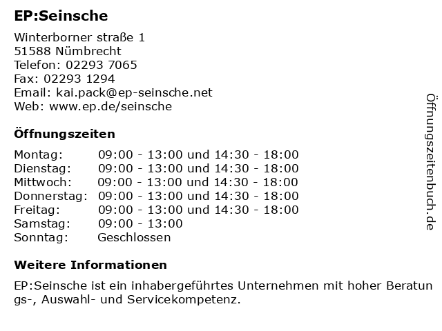EP:Seinsche in Nümbrecht: Adresse und Öffnungszeiten