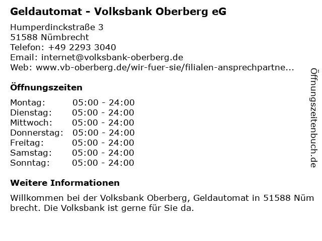 Volksbank Oberberg eG (Geldautomat) in Nümbrecht: Adresse und Öffnungszeiten