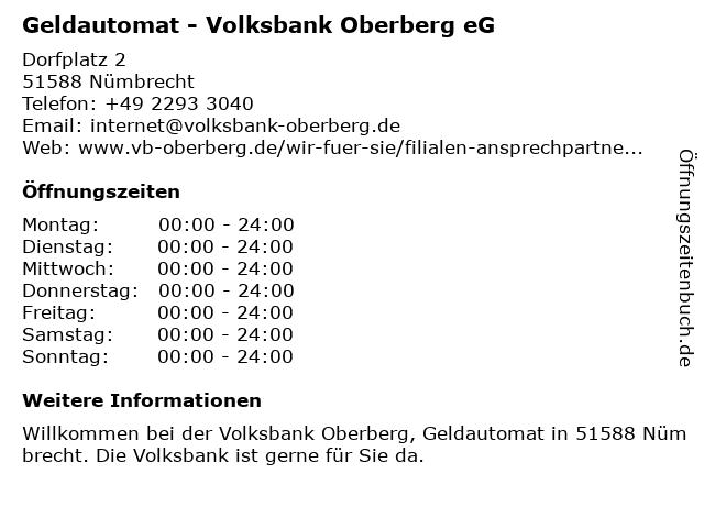 Raiffeisenbank Nümbrecht, ZwNL der Volksbank Oberberg eG (Geldautomat) in Nümbrecht: Adresse und Öffnungszeiten