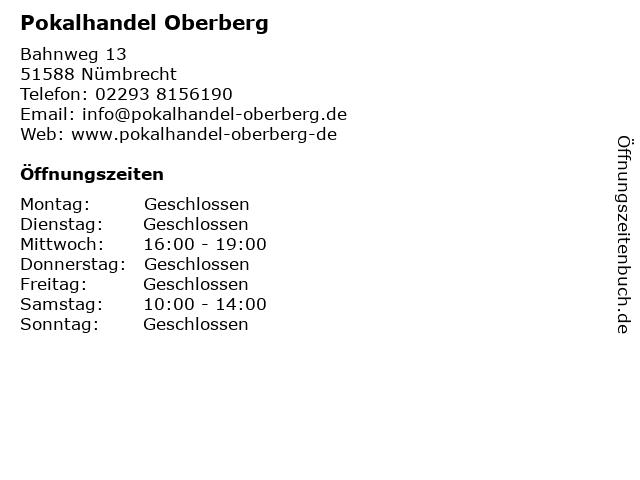 ᐅ Offnungszeiten Pokalhandel Oberberg Bahnweg 13 In Numbrecht