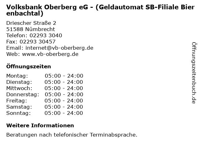 Volksbank Oberberg eG - (Geldautomat SB-Filiale Bierenbachtal) in Nümbrecht: Adresse und Öffnungszeiten