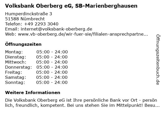 Volksbank Oberberg eG, SB-Marienberghausen in Nümbrecht: Adresse und Öffnungszeiten