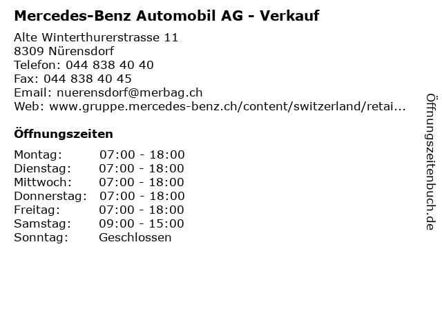 Mercedes-Benz Automobil AG - Verkauf in Nürensdorf: Adresse und Öffnungszeiten