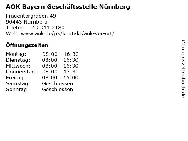 AOK Bayern Geschäftsstelle Nürnberg in Nürnberg: Adresse und Öffnungszeiten