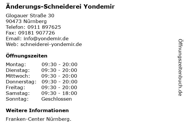 Änderungs-Schneiderei Yondemir in Nürnberg: Adresse und Öffnungszeiten