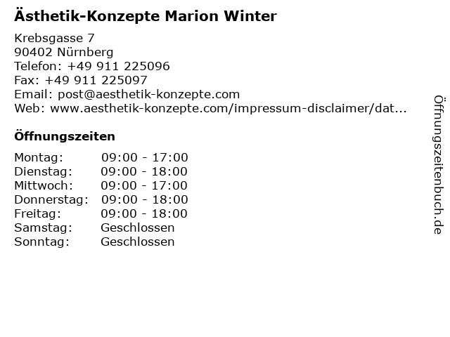 Ästhetik-Konzepte Marion Winter in Nürnberg: Adresse und Öffnungszeiten