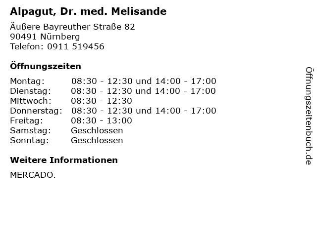 Alpagut, Dr. med. Melisande in Nürnberg: Adresse und Öffnungszeiten