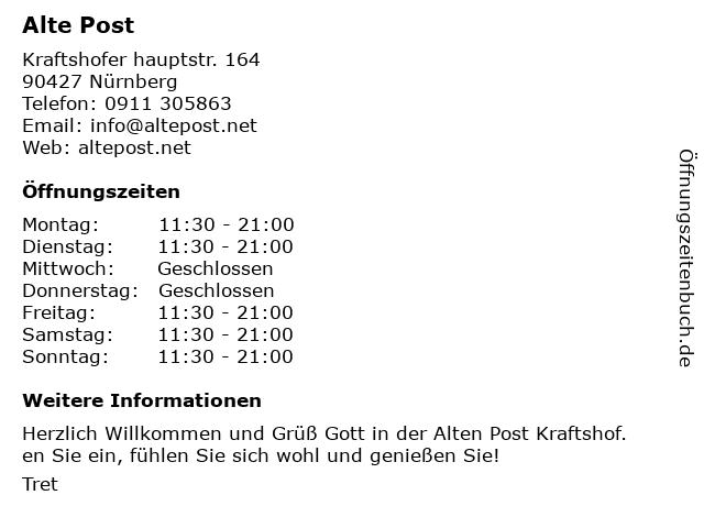 Alte Post Kraftshof in Nürnberg: Adresse und Öffnungszeiten