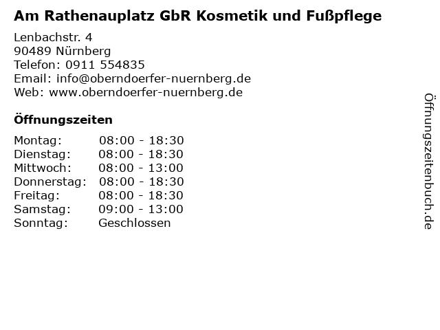 Am Rathenauplatz GbR Kosmetik und Fußpflege in Nürnberg: Adresse und Öffnungszeiten