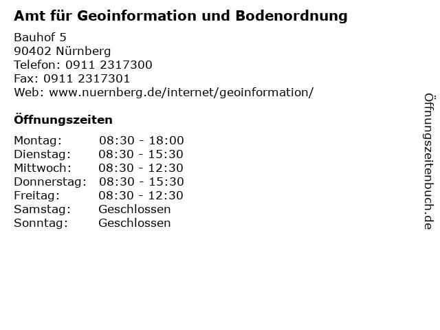 Amt für Geoinformation und Bodenordnung in Nürnberg: Adresse und Öffnungszeiten