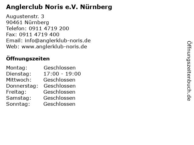 Anglerclub Noris e.V. Nürnberg in Nürnberg: Adresse und Öffnungszeiten
