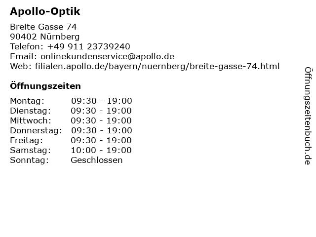 Apollo-Optik Holding GmbH & Co. KG in Nürnberg: Adresse und Öffnungszeiten