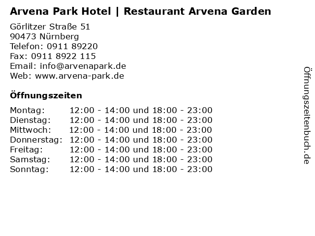 Arvena Park Hotel   Restaurant Arvena Garden in Nürnberg: Adresse und Öffnungszeiten