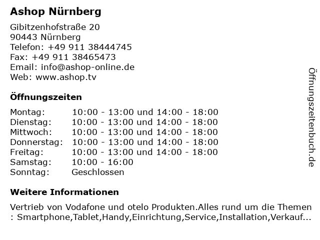 Ashop Nürnberg in Nürnberg: Adresse und Öffnungszeiten