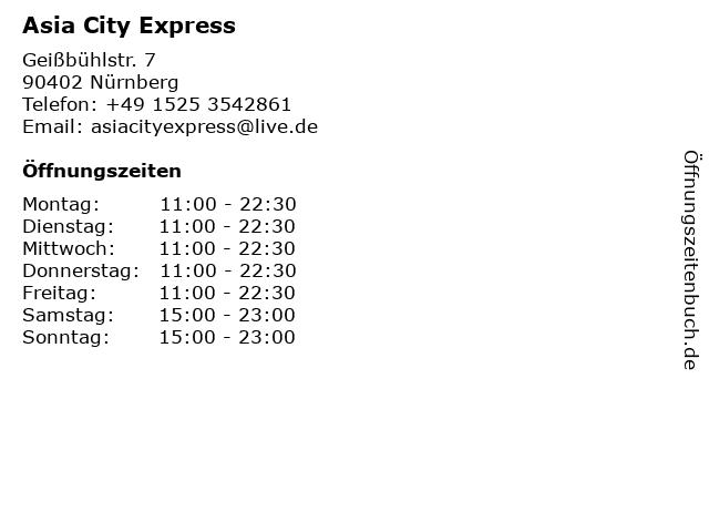 Asia City Express in Nürnberg: Adresse und Öffnungszeiten