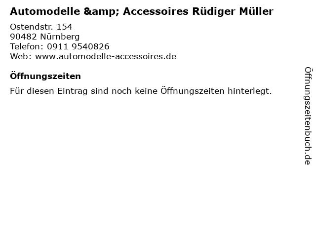 Automodelle & Accessoires Rüdiger Müller in Nürnberg: Adresse und Öffnungszeiten