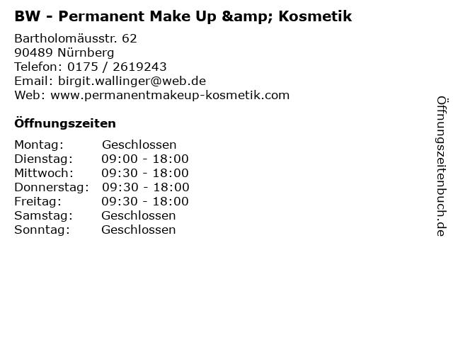 BW - Permanent Make Up & Kosmetik in Nürnberg: Adresse und Öffnungszeiten