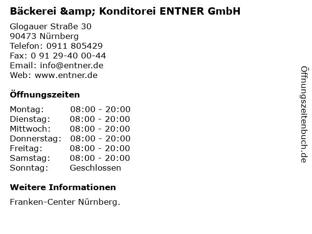 Bäckerei & Konditorei ENTNER GmbH in Nürnberg: Adresse und Öffnungszeiten