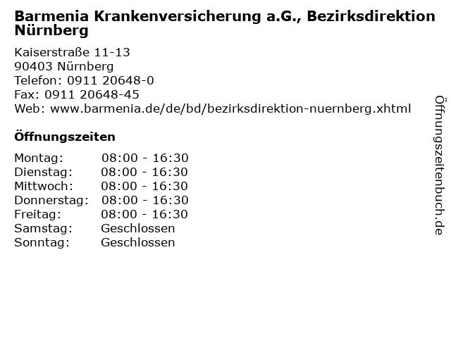 Barmenia Krankenversicherung a.G., Bezirksdirektion Nürnberg in Nürnberg: Adresse und Öffnungszeiten