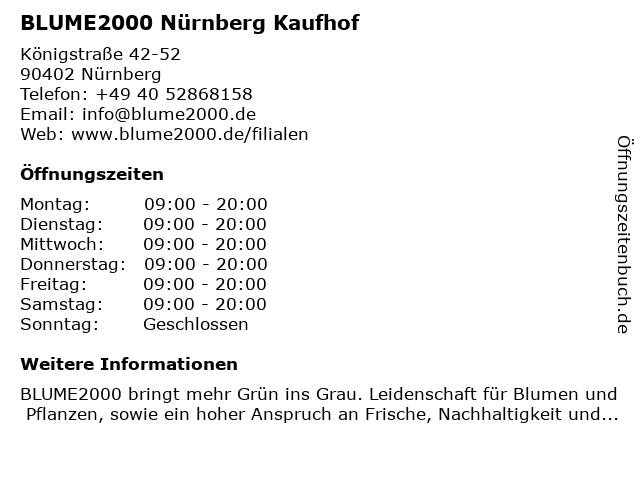 Blume 2000 in Nürnberg: Adresse und Öffnungszeiten