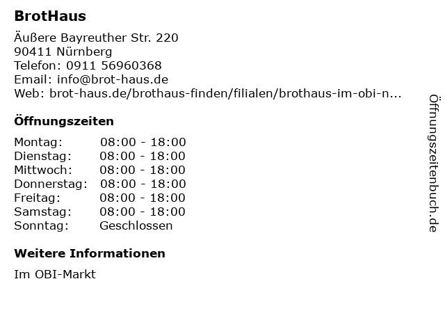 BrotHaus GmbH im OBI in Nürnberg: Adresse und Öffnungszeiten