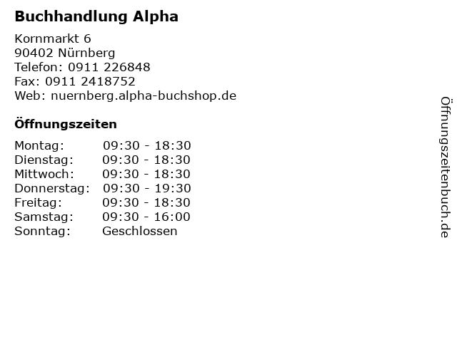 Buchhandlung Alpha in Nürnberg: Adresse und Öffnungszeiten