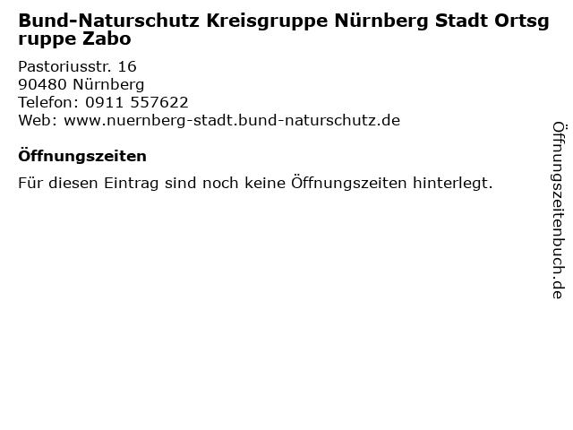 Bund-Naturschutz Kreisgruppe Nürnberg Stadt Ortsgruppe Zabo in Nürnberg: Adresse und Öffnungszeiten