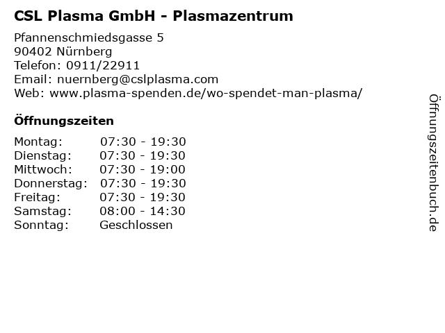 csl plasma nürnberg öffnungszeiten