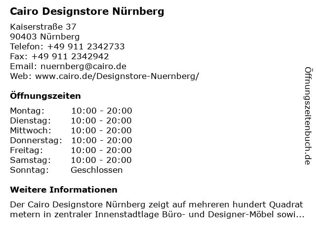 ᐅ öffnungszeiten Cairo Designstore Nürnberg Kaiserstraße 37 In