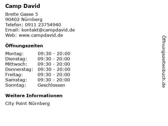 Camp David in Nürnberg: Adresse und Öffnungszeiten