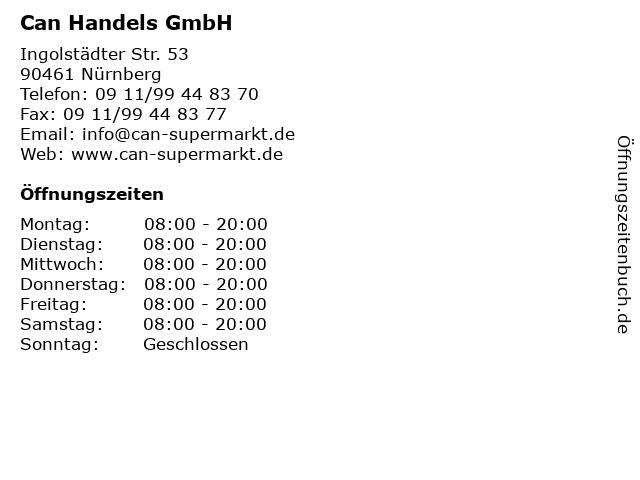 Can Handels GmbH in Nürnberg: Adresse und Öffnungszeiten