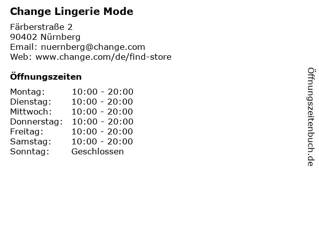 Change Lingerie Mode in Nürnberg: Adresse und Öffnungszeiten