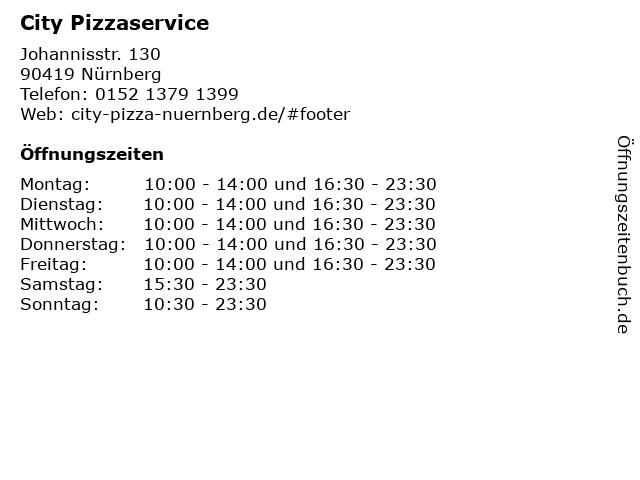 City Pizzaservice in Nürnberg: Adresse und Öffnungszeiten