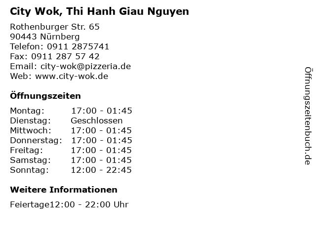 City Wok, Thi Hanh Giau Nguyen in Nürnberg: Adresse und Öffnungszeiten