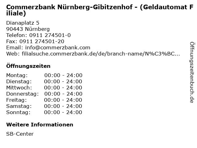 Commerzbank Nürnberg-Gibitzenhof - (Geldautomat Filiale) in Nürnberg: Adresse und Öffnungszeiten