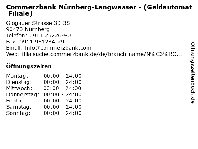 Commerzbank Nürnberg-Langwasser - (Geldautomat Filiale) in Nürnberg: Adresse und Öffnungszeiten