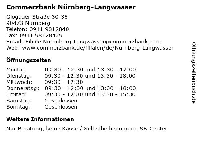 Commerzbank Nürnberg-Langwasser in Nürnberg: Adresse und Öffnungszeiten