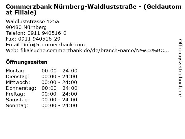 Commerzbank Nürnberg-Waldluststraße - (Geldautomat Filiale) in Nürnberg: Adresse und Öffnungszeiten