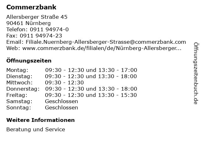 Commerzbank Nürnberg-Allersberger Straße in Nürnberg: Adresse und Öffnungszeiten