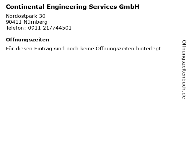 Continental Engineering Services GmbH in Nürnberg: Adresse und Öffnungszeiten