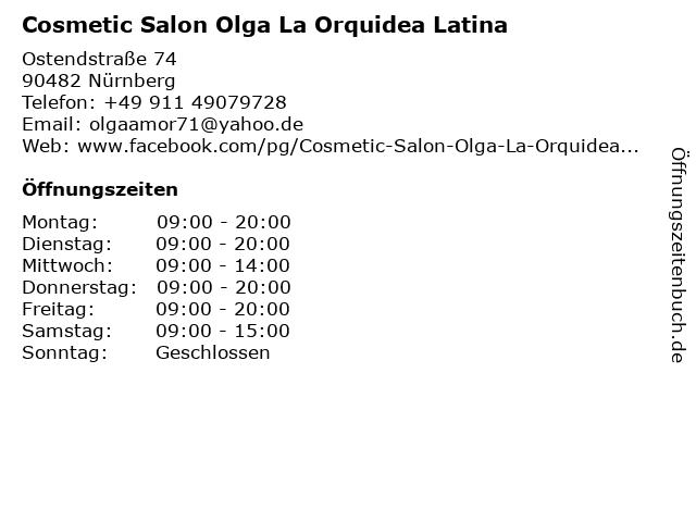 Cosmetic Salon Olga La Orquidea Latina in Nürnberg: Adresse und Öffnungszeiten