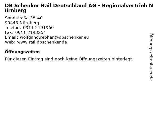 DB Schenker Rail Deutschland AG - Regionalvertrieb Nürnberg in Nürnberg: Adresse und Öffnungszeiten