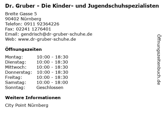 Dr. Gruber - Die Kinder- und Jugendschuhspezialisten in Nürnberg: Adresse und Öffnungszeiten